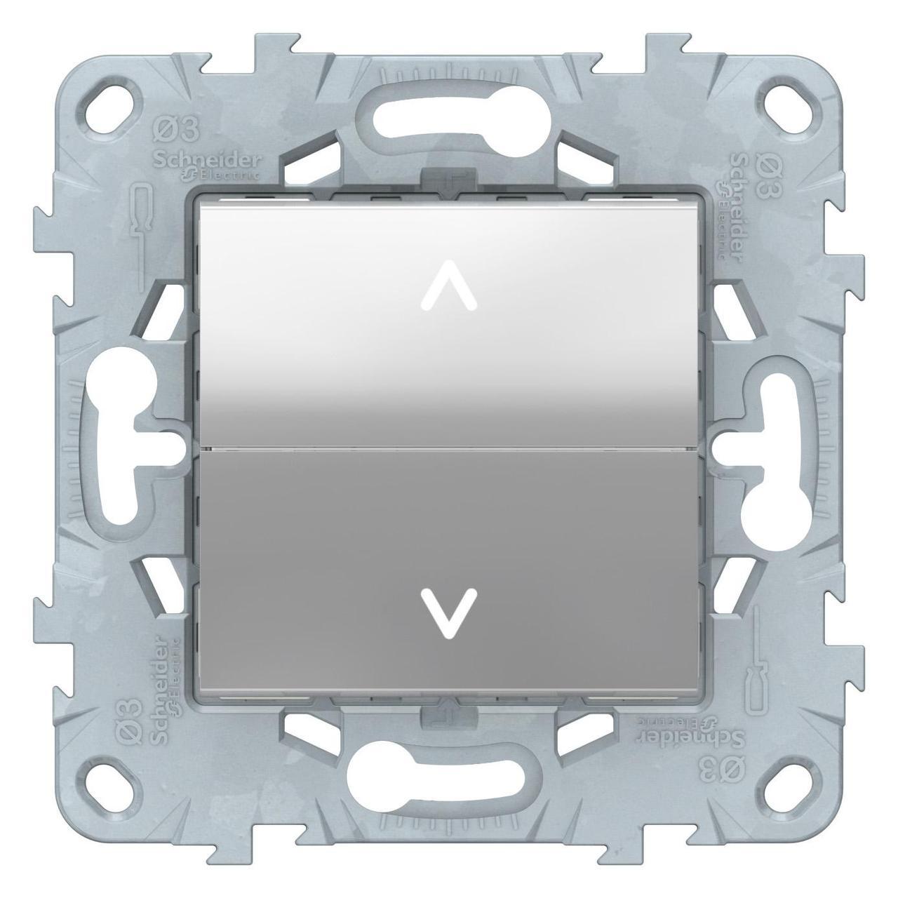 Выключатель для жалюзи (рольставней) кнопочный , Алюминий, серия Unica New, Schneider Electric