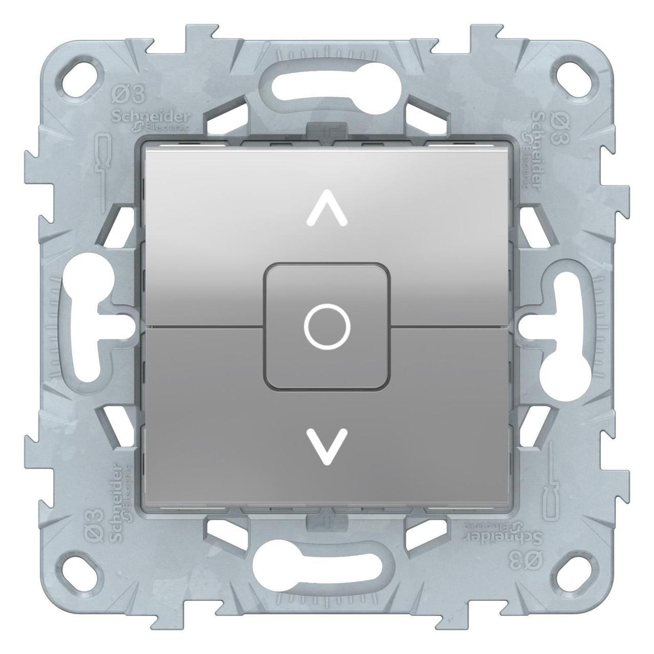 Выключатель для жалюзи (рольставней) с фиксацией , Алюминий, серия Unica New, Schneider Electric