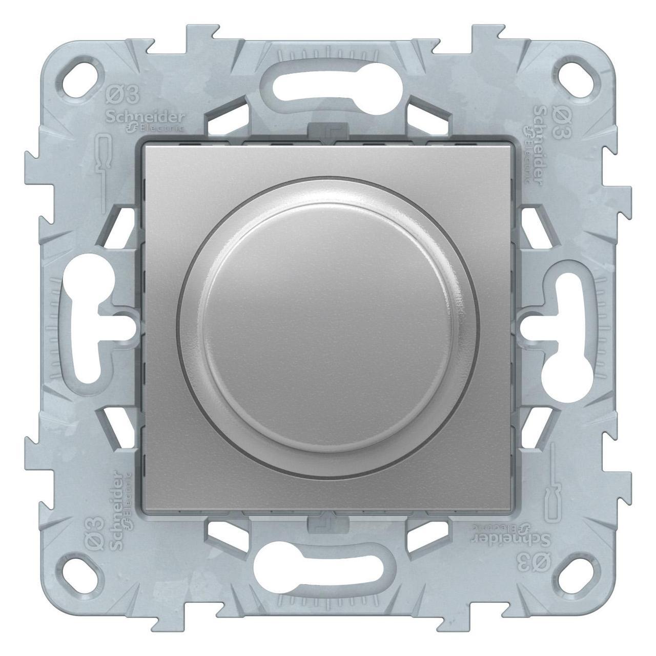 Диммер поворотно-нажимной , 200Вт LED универсальны , Алюминий, серия Unica New, Schneider Electric