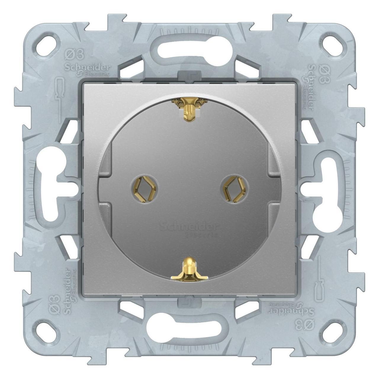 Розетка 1-ая электрическая , с заземлением (винтовой зажим) , Алюминий, серия Unica New, Schneider Electric