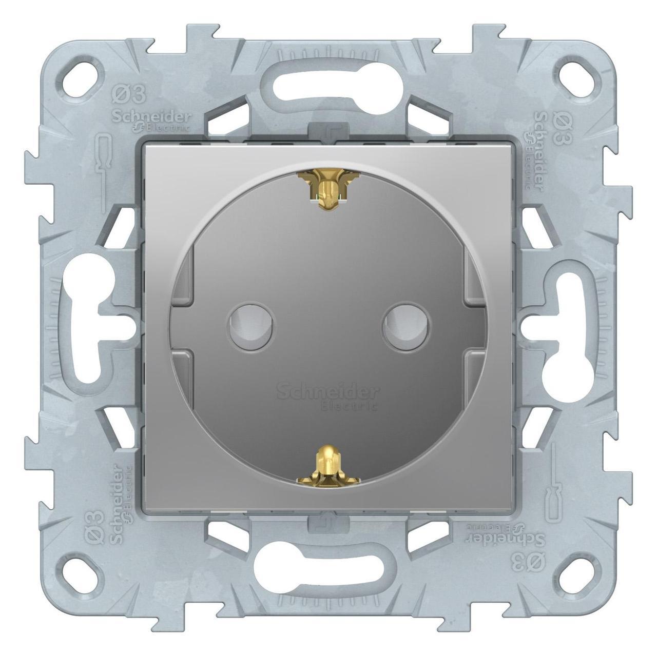 Розетка 1-ая электрическая , с заземлением и защитными шторками (безвинтовой зажим) , Алюминий, серия Unica