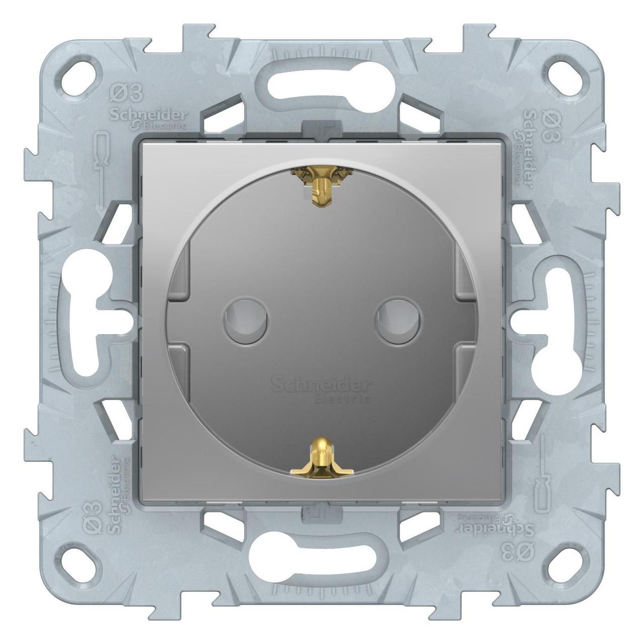 Розетка 1-ая электрическая , с заземлением и защитными шторками (винтовой зажим) , Алюминий, серия Unica New,