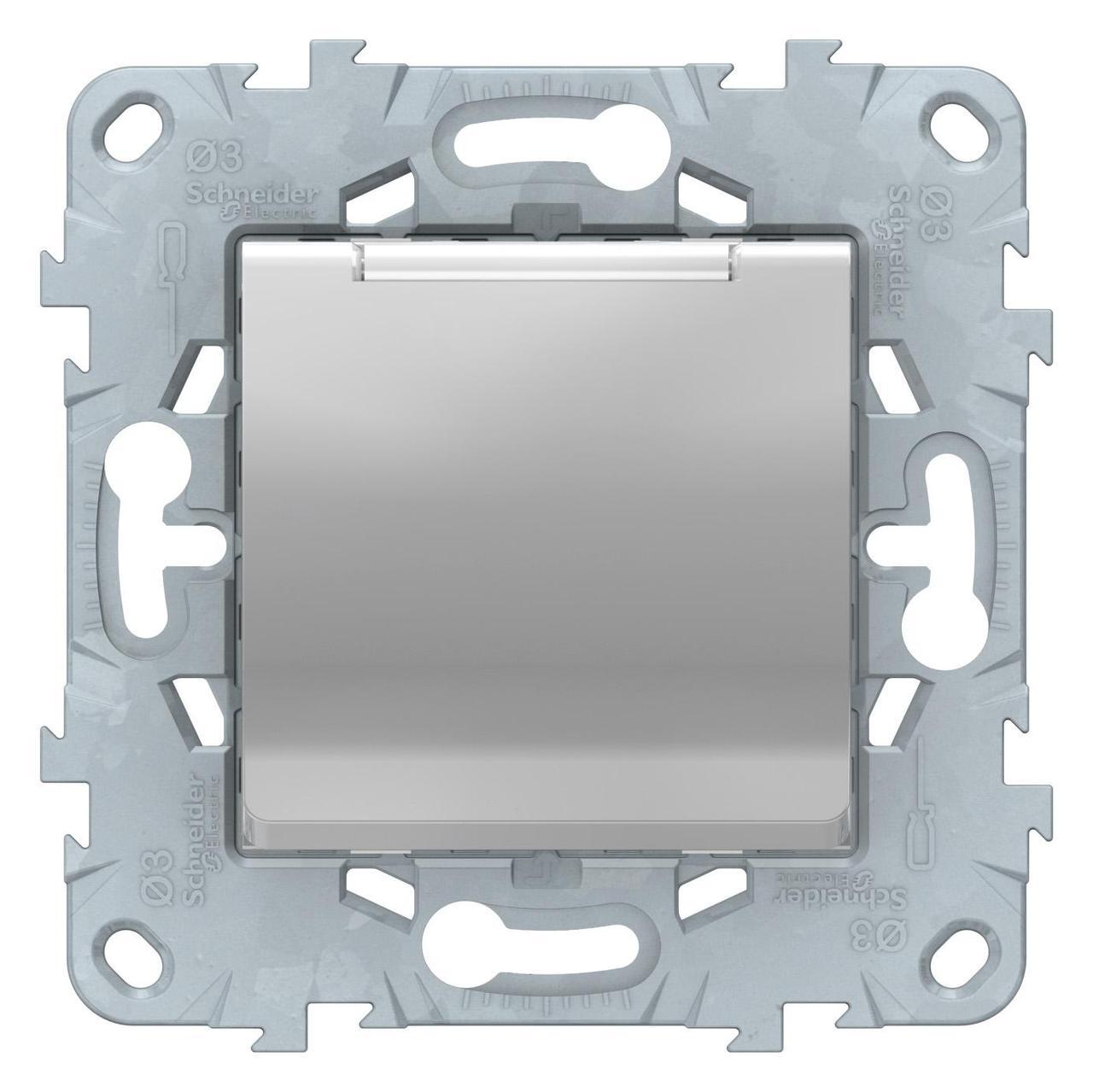Розетка 1-ая электрическая , с заземлением и крышкой, защитными шторками , Алюминий, серия Unica New,