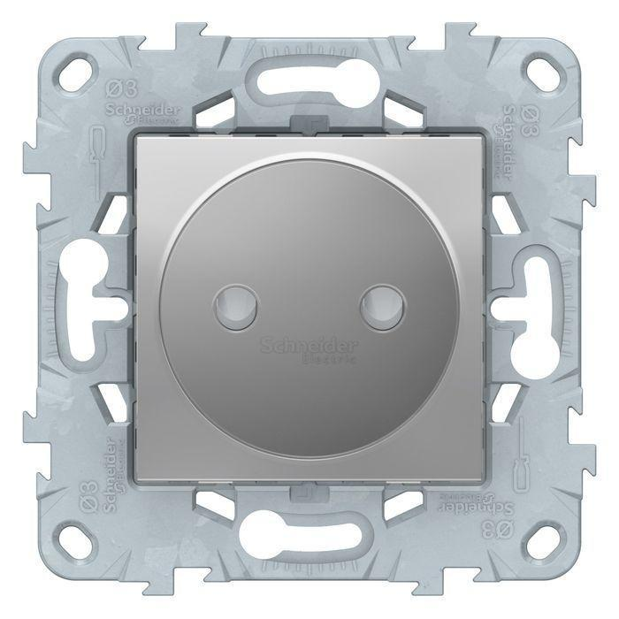 Розетка 1-ая электрическая без заземления с защитными шторками , Алюминий, серия Unica New, Schneider Electric