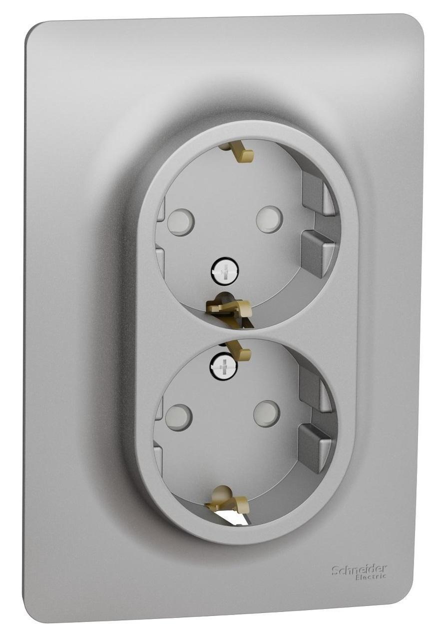 Розетка 2-ая электрическая с заземлением с защитными шторками , Алюминий, серия Unica New, Schneider Electric