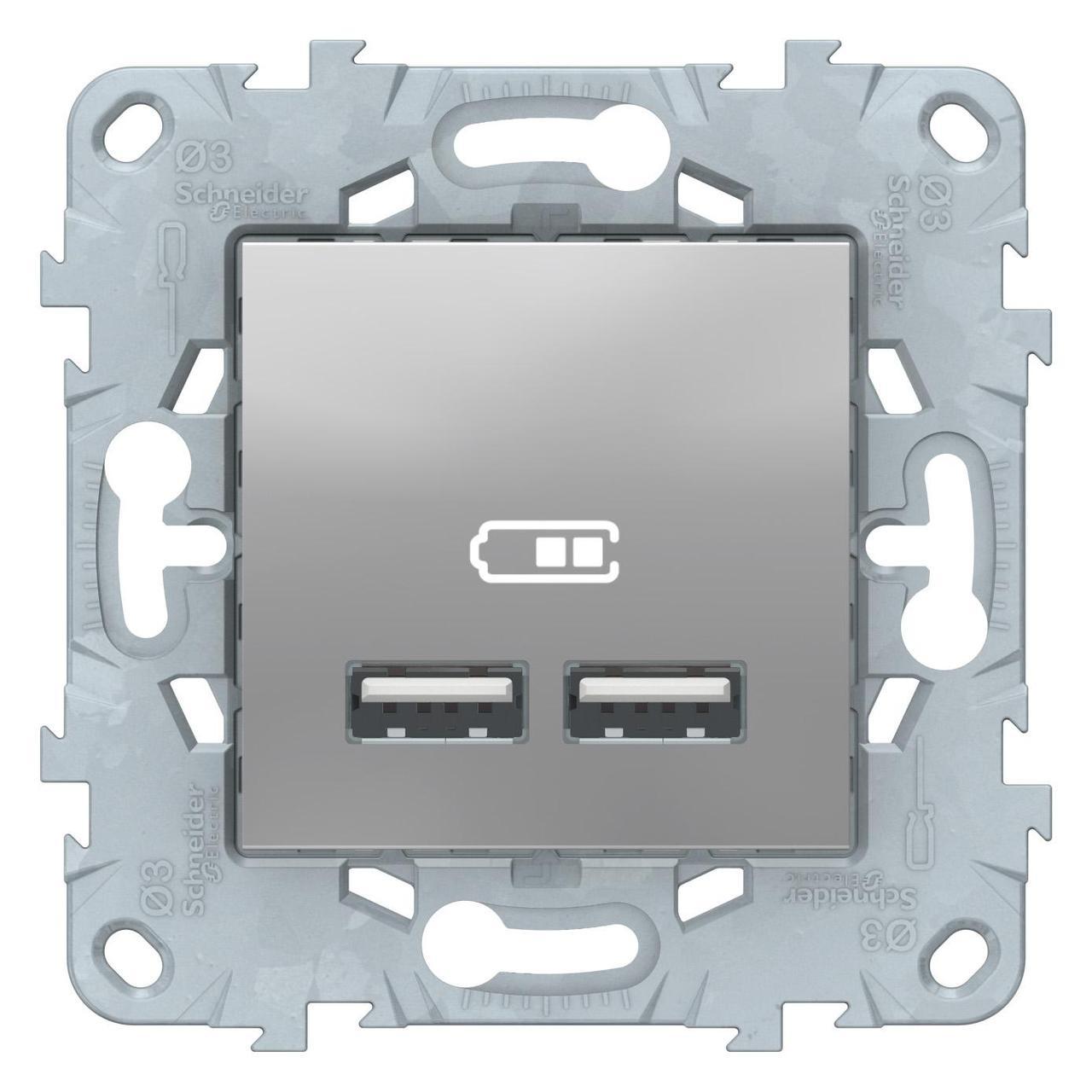 Розетка USB 2-ая (для подзарядки) , Алюминий, серия Unica New, Schneider Electric