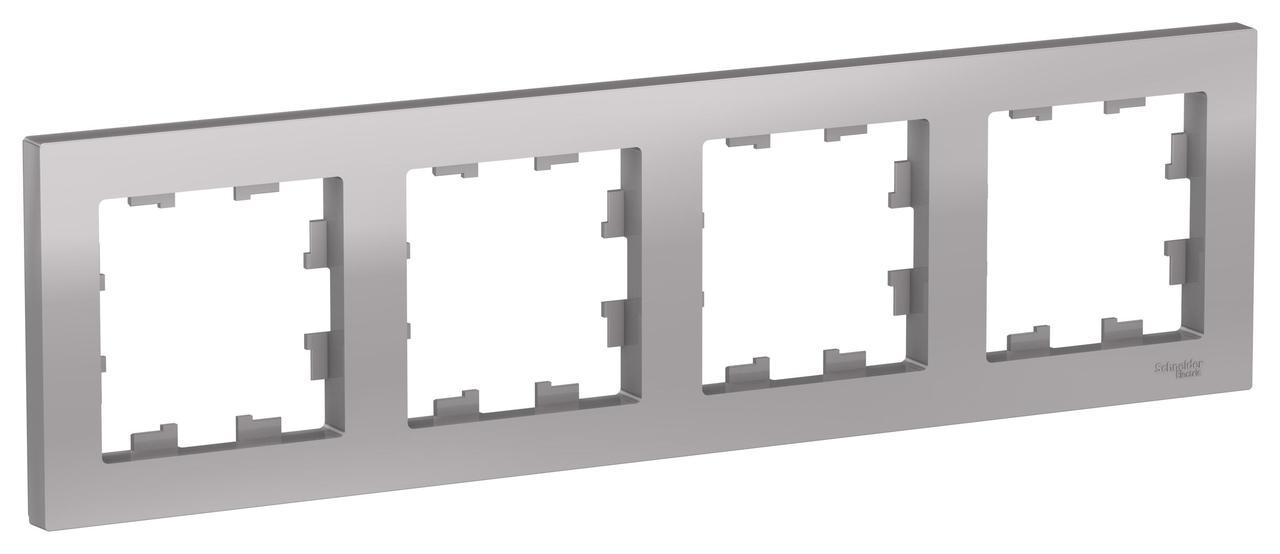 Рамка 4-ая (четверная), Алюминий, серия Atlas Design, Schneider Electric