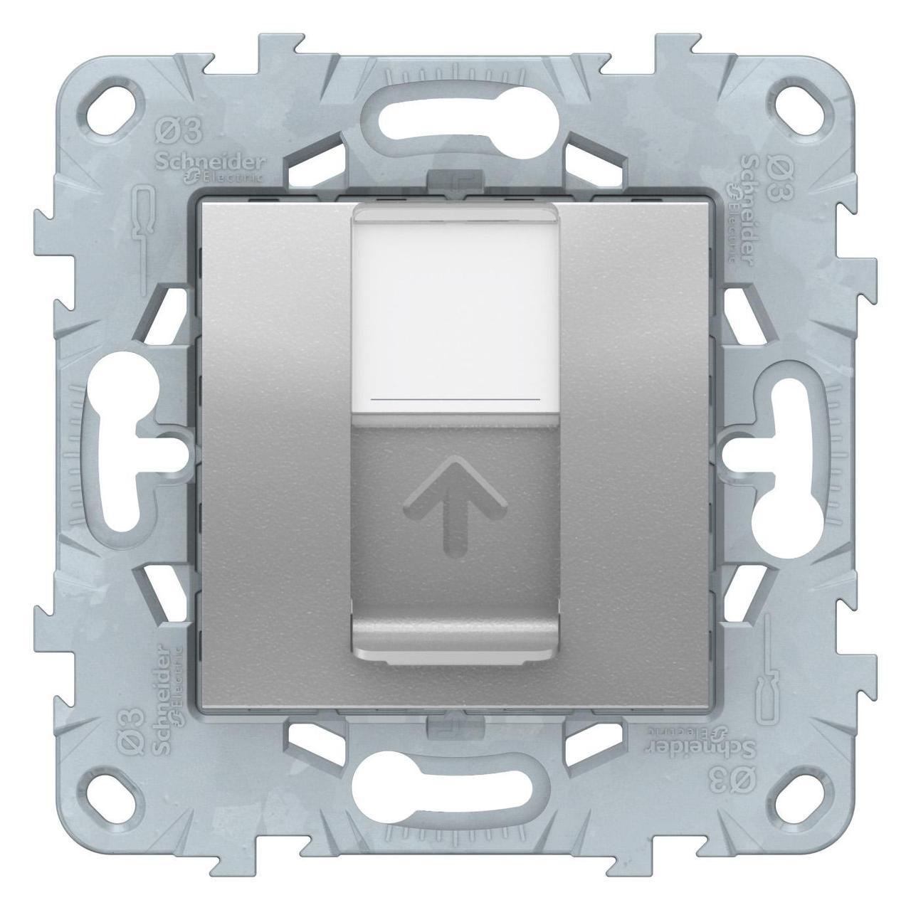 Розетка компьютерная 1-ая кат.6, RJ-45 (интернет) , Алюминий, серия Unica New, Schneider Electric