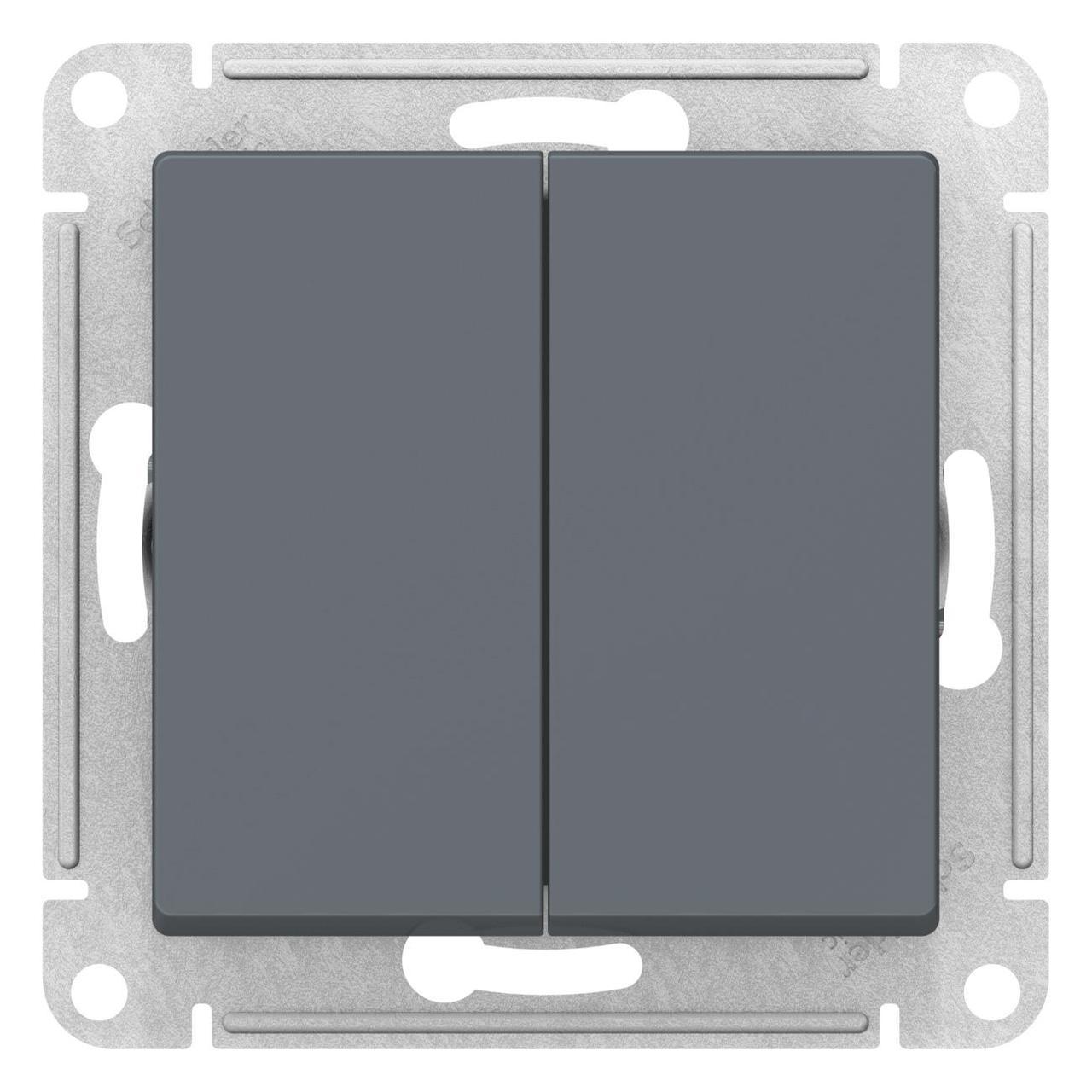 Выключатель 2-клавишный , Грифель, серия Atlas Design, Schneider Electric