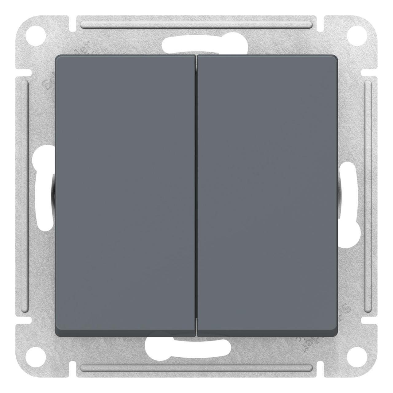 Выключатель 2-клавишный проходной (с двух мест) , Грифель, серия Atlas Design, Schneider Electric