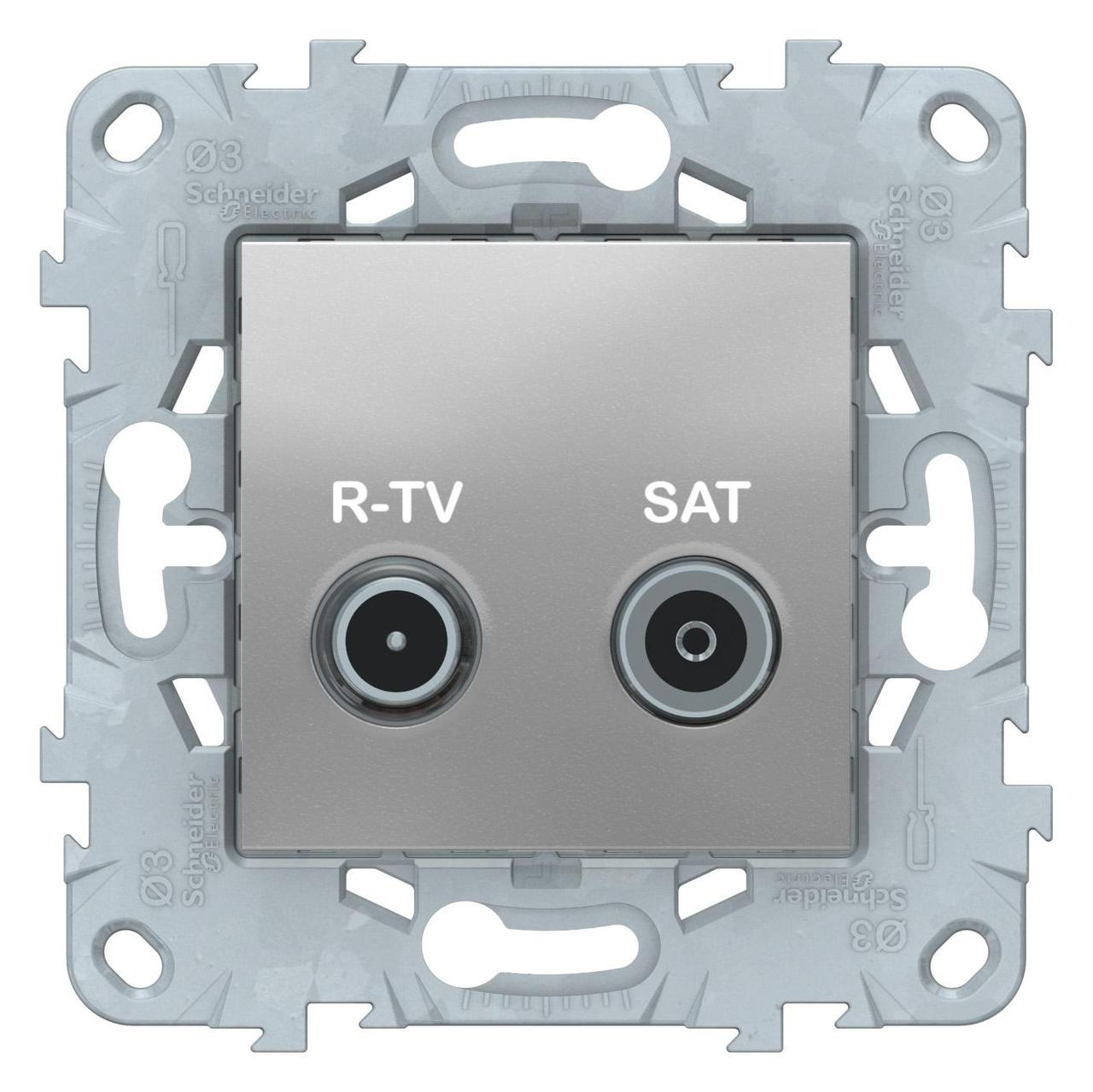 Розетка телевизионная оконечная ТV-SAT , Алюминий, серия Unica New, Schneider Electric