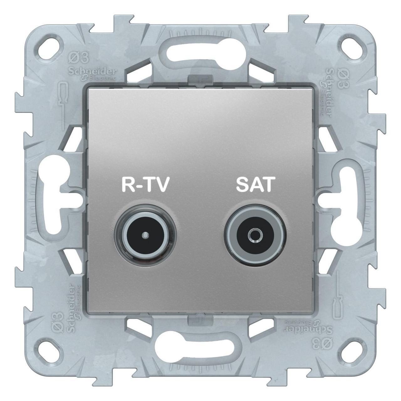Розетка телевизионная проходная ТV-SAT , Алюминий, серия Unica New, Schneider Electric