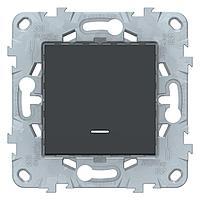 Выключатель 1-клавишный , с подсветкой , Антрацит, серия Unica New, Schneider Electric