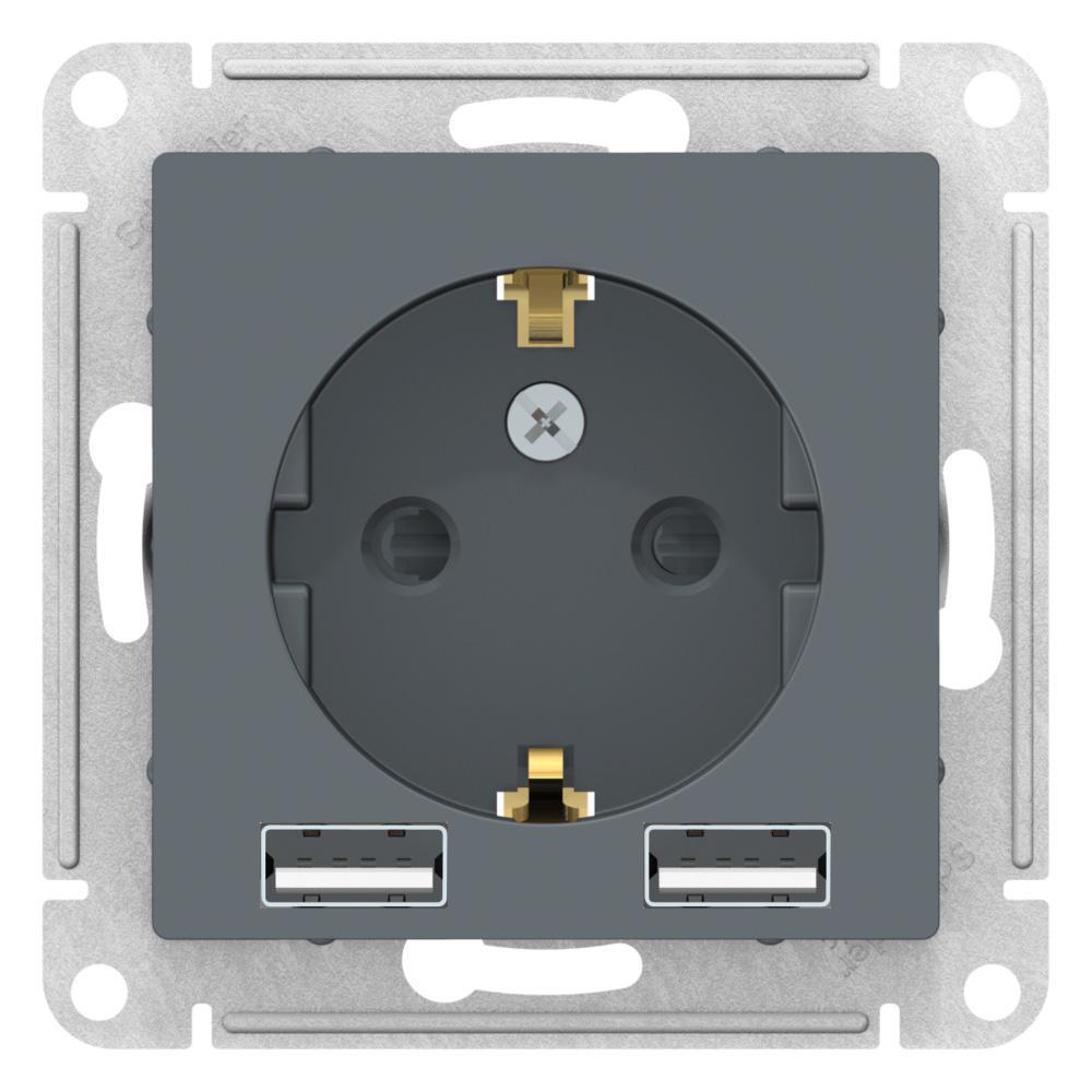 Розетка 1-ая электрическая , с заземлением, c USB , Грифель, серия Atlas Design, Schneider Electric