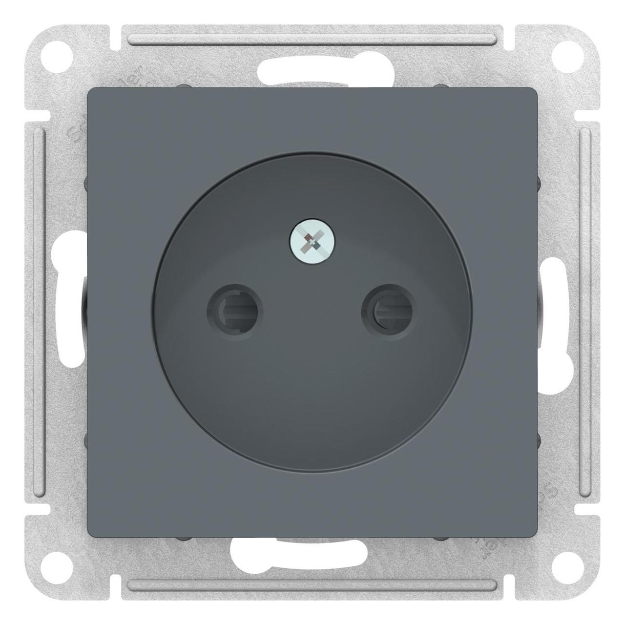 Розетка 1-ая электрическая без заземления с защитными шторками , Грифель, серия Atlas Design, Schneider Electric