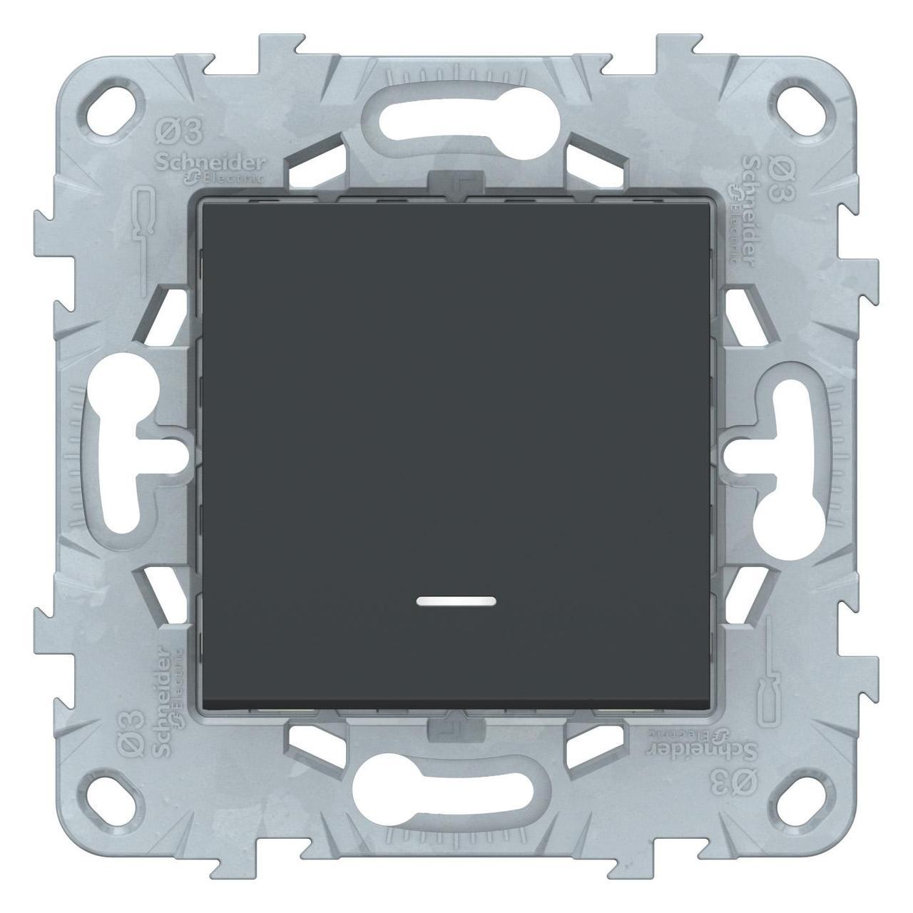 Выключатель 1-клавишный ,проходной с подсветкой (с двух мест) , Антрацит, серия Unica New, Schneider Electric