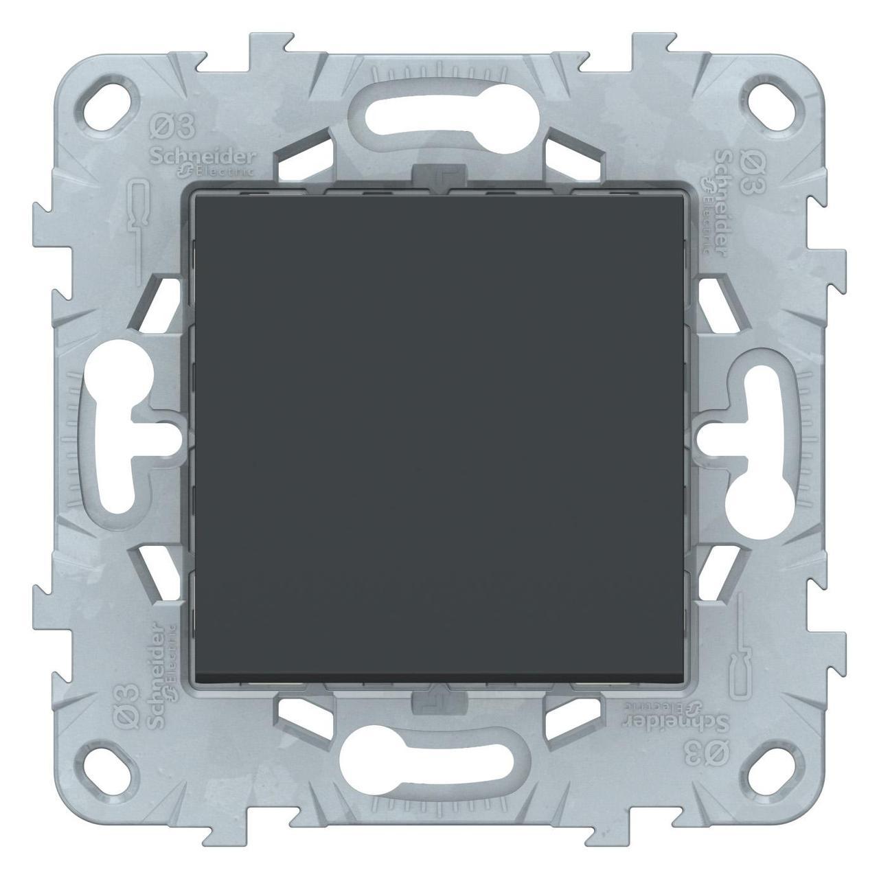 Выключатель 1-клавишный; кнопочный , Антрацит, серия Unica New, Schneider Electric