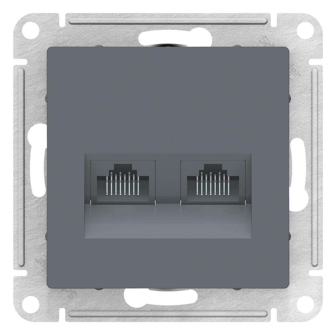 Розетка компьютерная 2-ая кат.5е, RJ-45 (интернет) , Грифель, серия Atlas Design, Schneider Electric