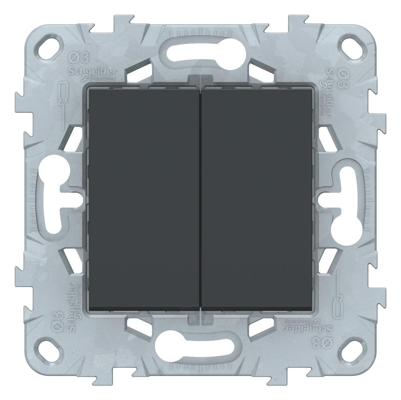 Выключатель 2-клавишный проходной (с двух мест) , Антрацит, серия Unica New, Schneider Electric