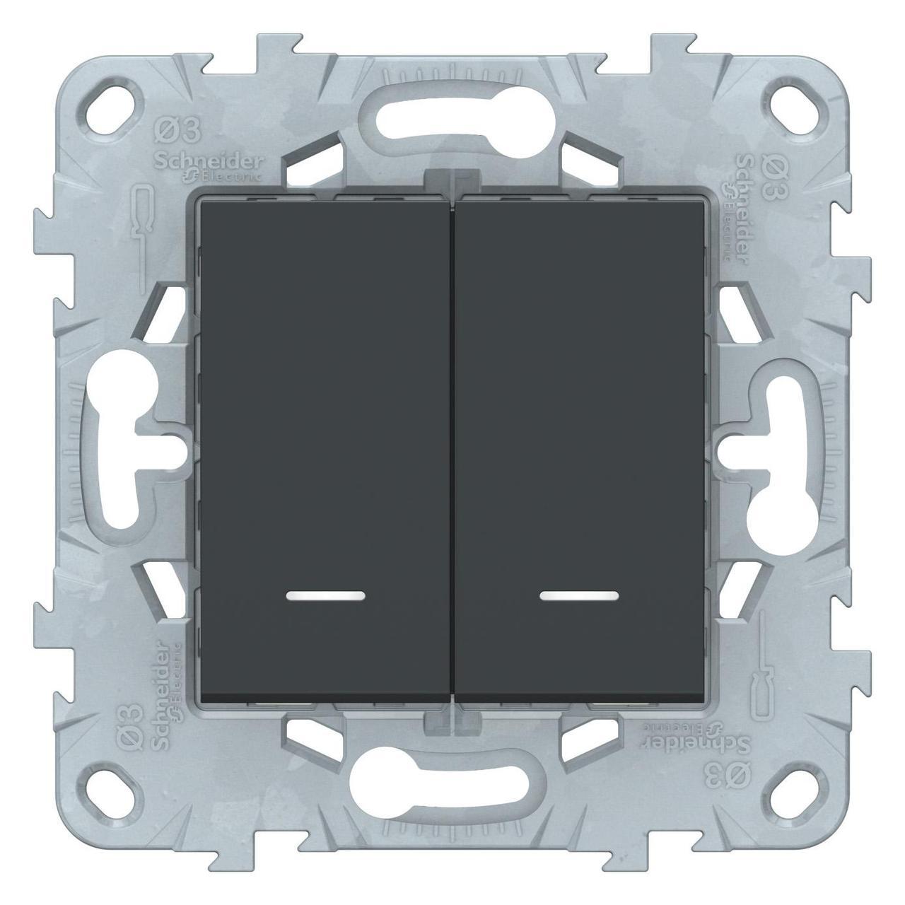Выключатель 2-клавишный проходной с подсветкой (с двух мест) , Антрацит, серия Unica New, Schneider Electric