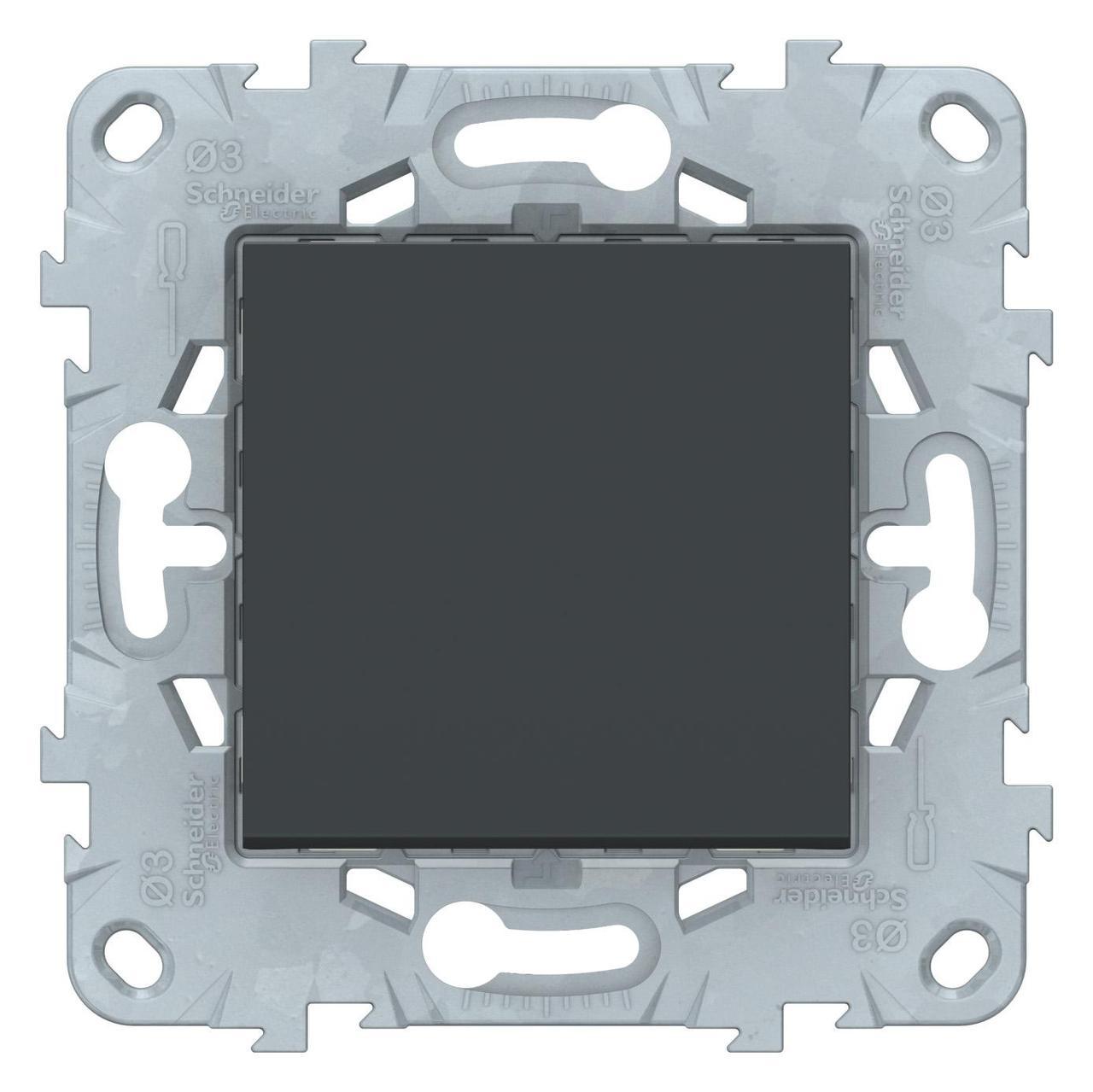 Выключатель 2-полюсный 1-клавишный , Антрацит, серия Unica New, Schneider Electric