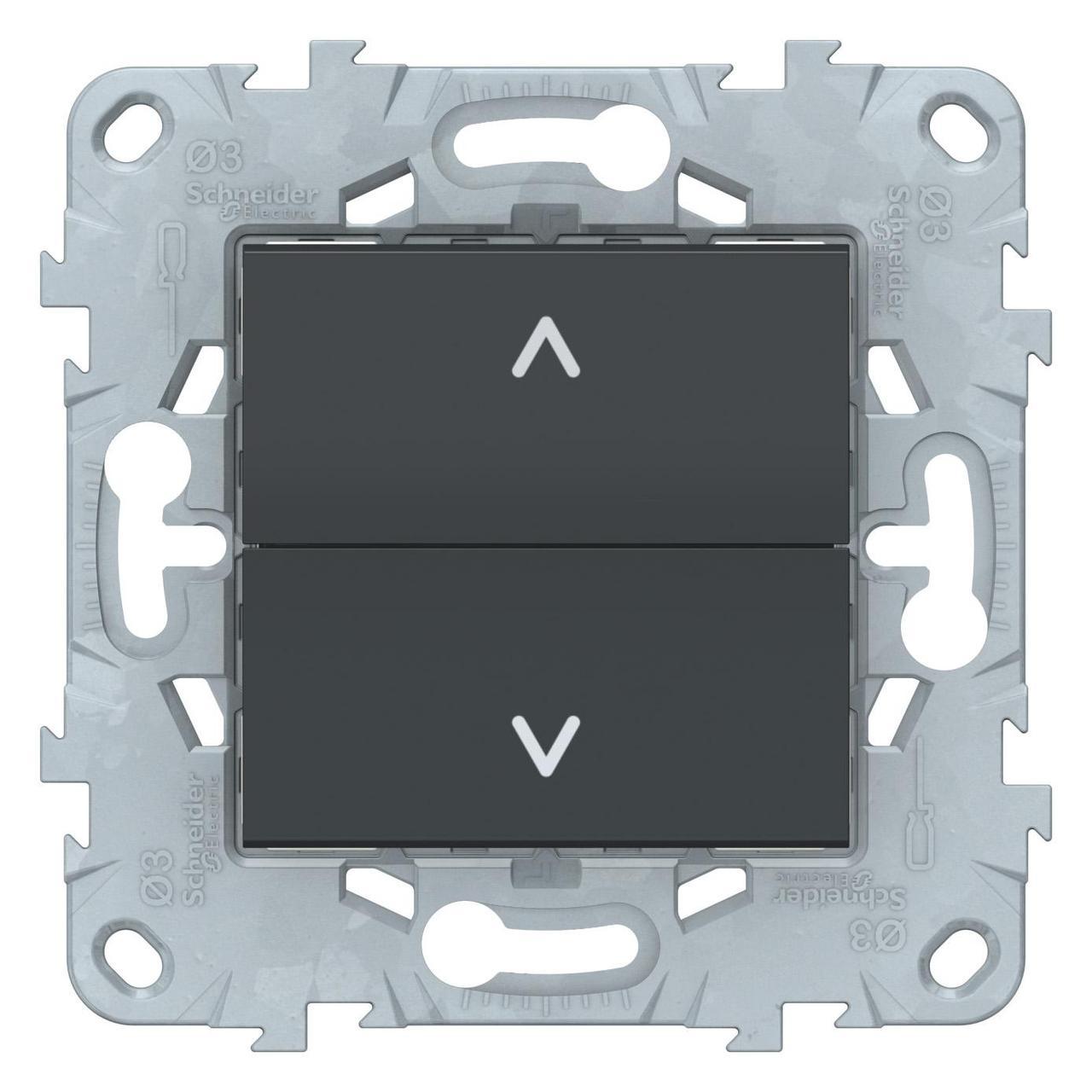 Выключатель для жалюзи (рольставней) кнопочный , Антрацит, серия Unica New, Schneider Electric