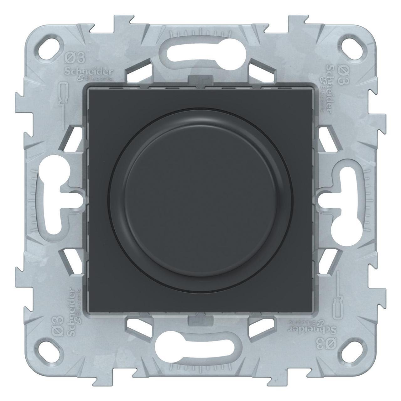 Диммер поворотно-нажимной , 400Вт для л/н и эл.трансф. , Антрацит, серия Unica New, Schneider Electric