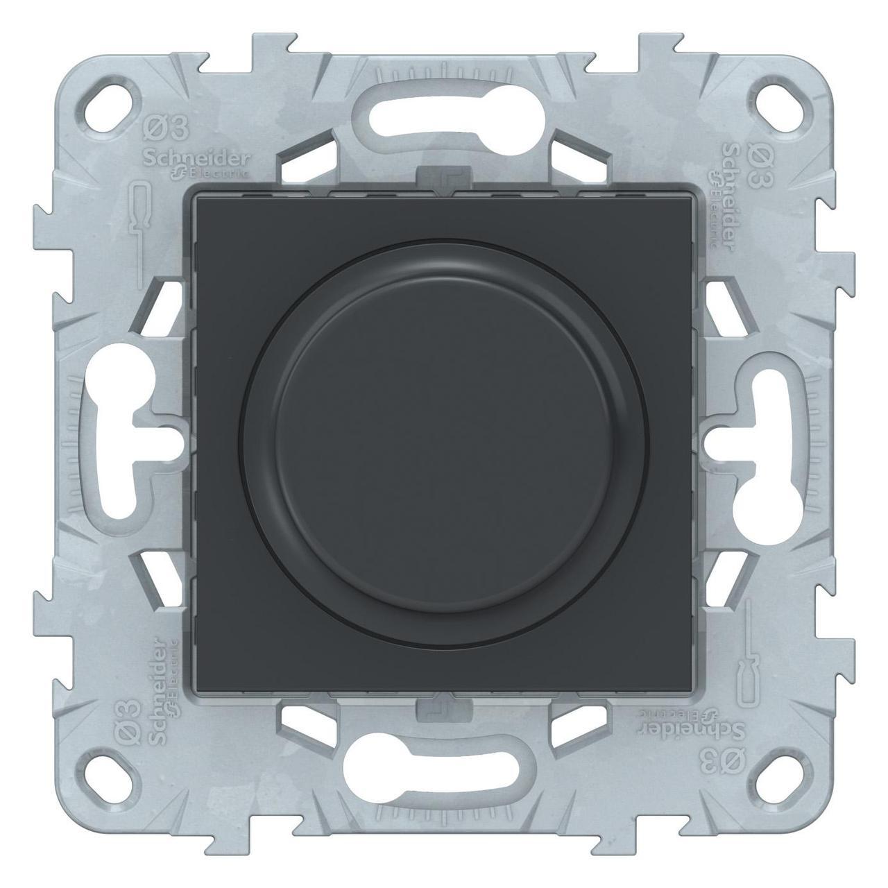 Диммер поворотный , 200Вт LED универсальный , Антрацит, серия Unica New, Schneider Electric