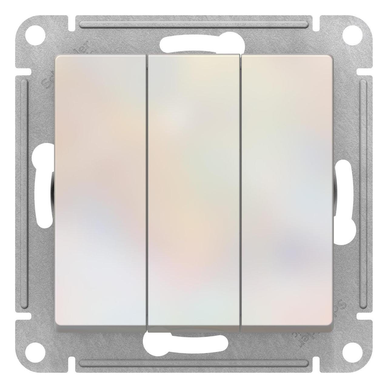 Выключатель 3-клавишный , Жемчуг, серия Atlas Design, Schneider Electric