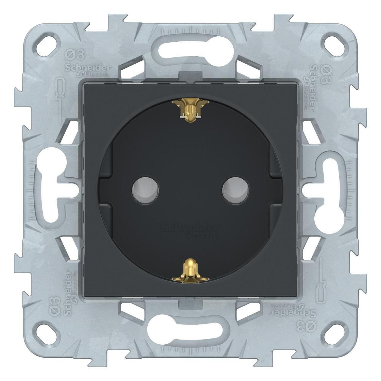 Розетка 1-ая электрическая , с заземлением и защитными шторками (безвинтовой зажим) , Антрацит, серия Unica