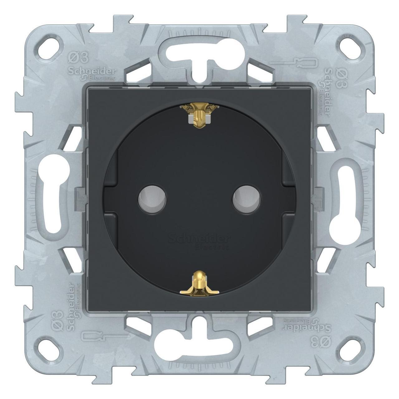 Розетка 1-ая электрическая , с заземлением и защитными шторками (винтовой зажим) , Антрацит, серия Unica New, Schneider Electric