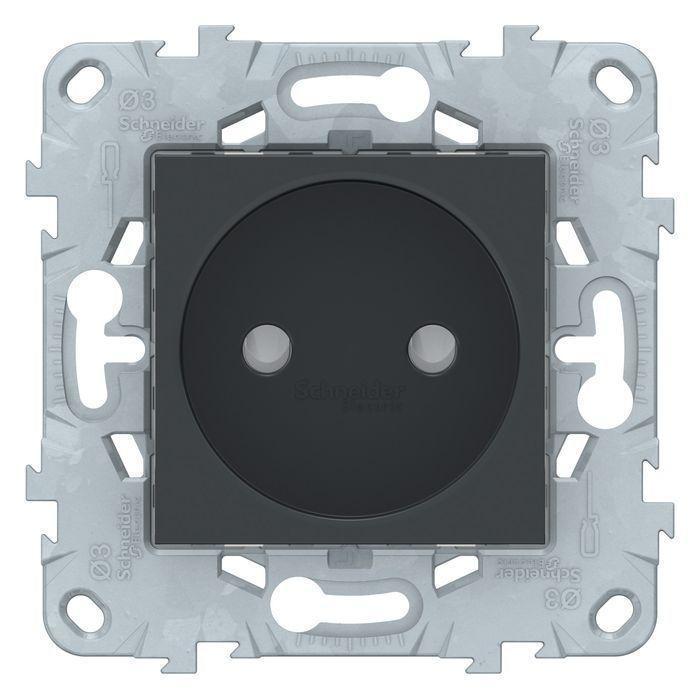 Розетка 1-ая электрическая без заземления с защитными шторками , Антрацит, серия Unica New, Schneider Electric