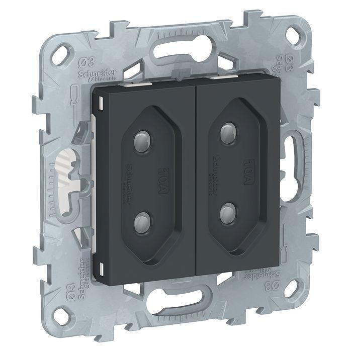 Розетка 2-ая электрическая без заземления с защитными шторками (для узких вилок) , Антрацит, серия Unica New,