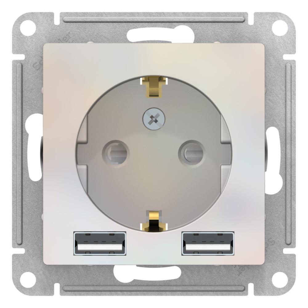 Розетка 1-ая электрическая , с заземлением, c USB , Жемчуг, серия Atlas Design, Schneider Electric