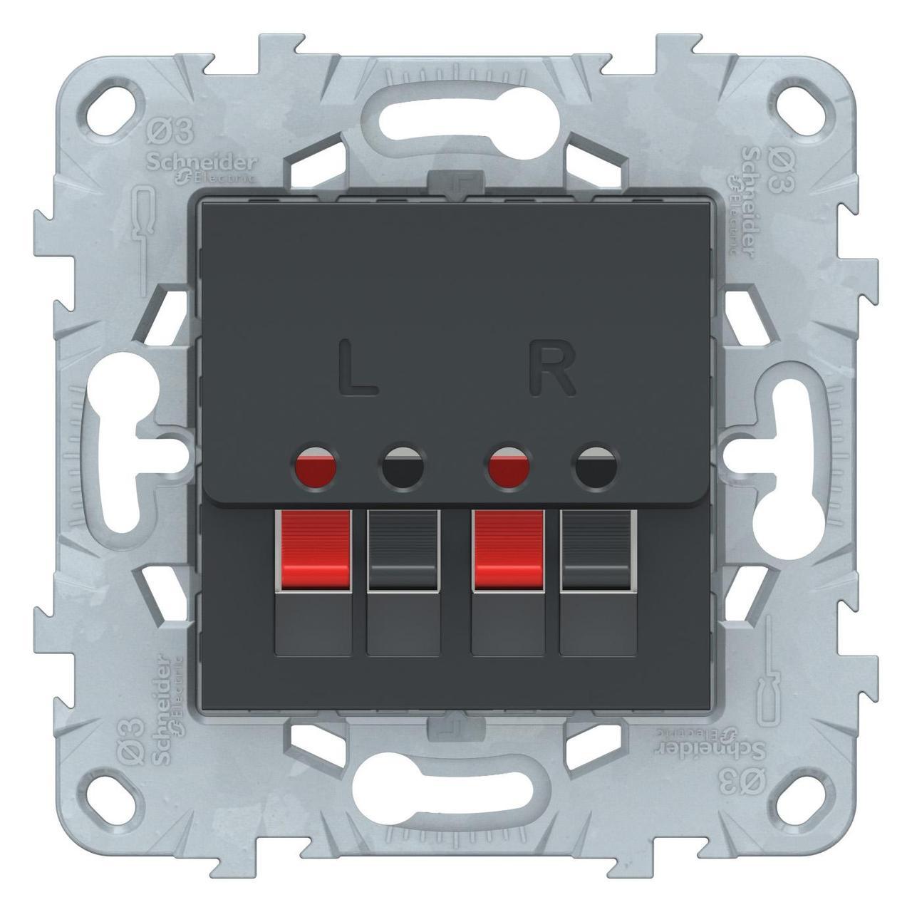 Розетка аудио для колонок 1-ая , Антрацит, серия Unica New, Schneider Electric
