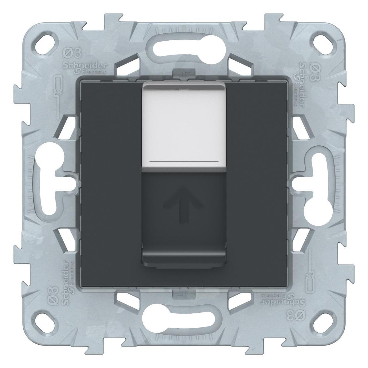 Розетка компьютерная 1-ая кат.6, RJ-45 (интернет) , Антрацит, серия Unica New, Schneider Electric