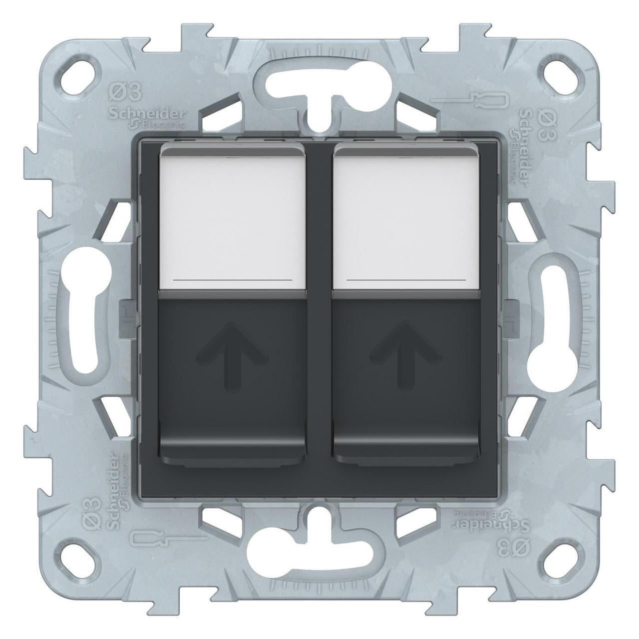 Розетка компьютерная 2-ая кат.5е, RJ-45 (интернет) , Антрацит, серия Unica New, Schneider Electric