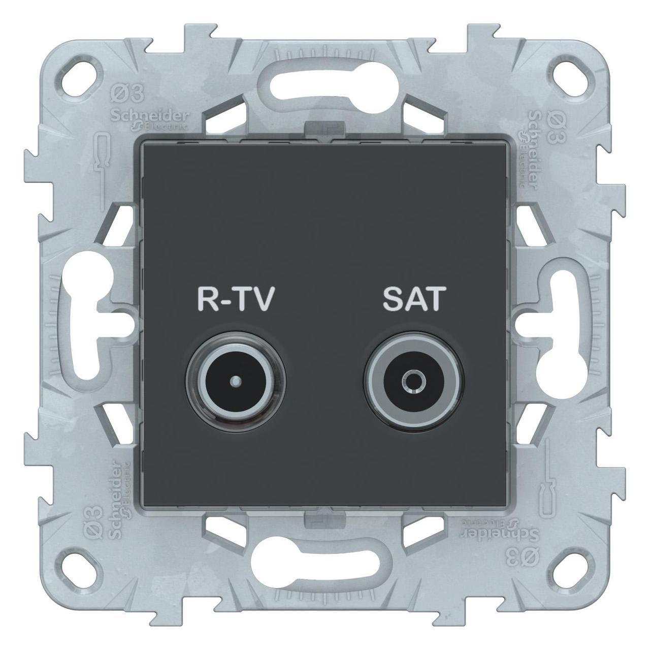 Розетка телевизионная оконечная ТV-SAT , Антрацит, серия Unica New, Schneider Electric