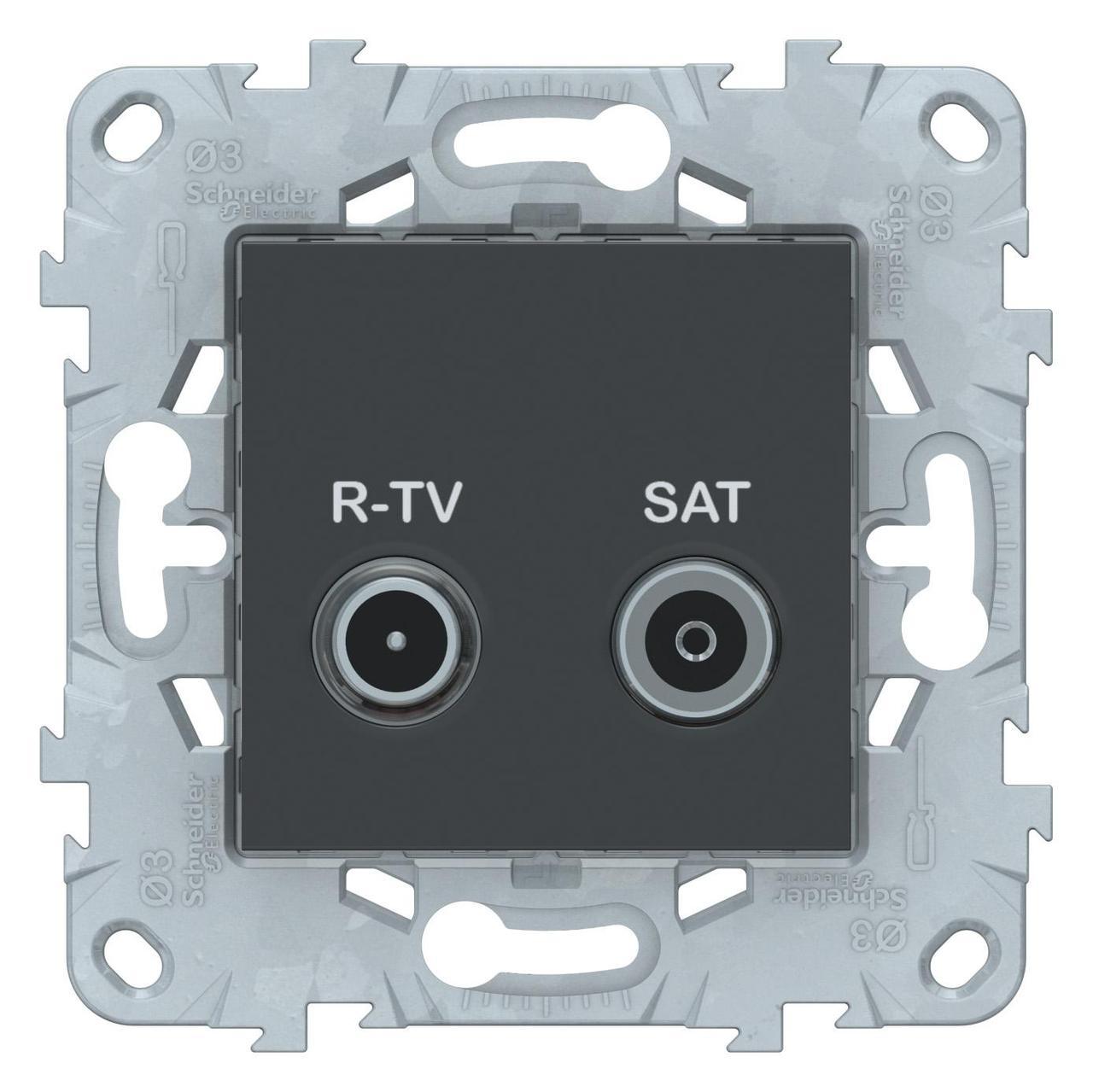 Розетка телевизионная проходная ТV-SAT , Антрацит, серия Unica New, Schneider Electric