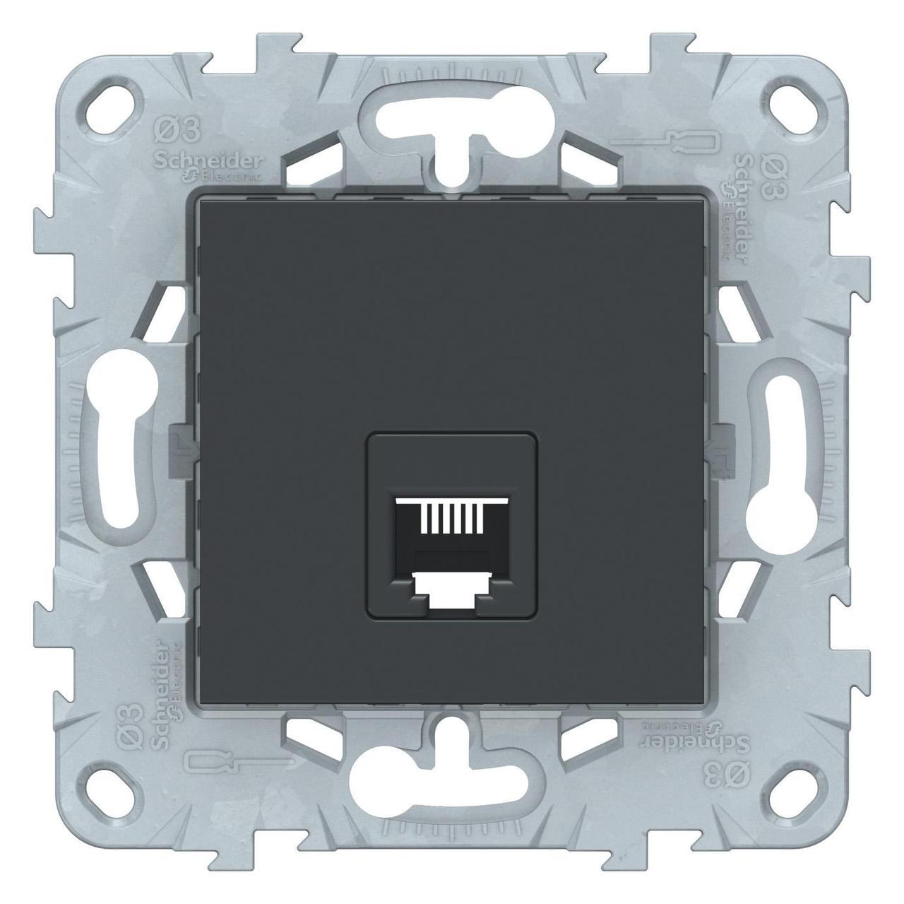 Розетка телефонная 1-ая 4 контакта, RJ-11 , Антрацит, серия Unica New, Schneider Electric