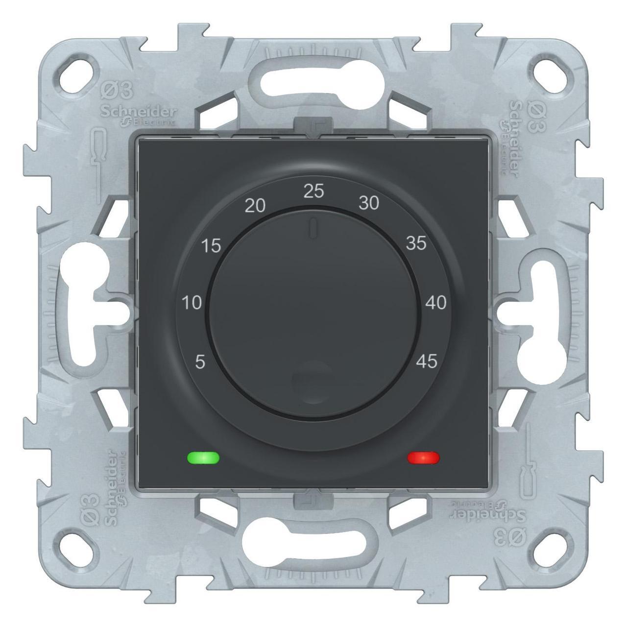 Терморегулятор для теплого пола , Антрацит, серия Unica New, Schneider Electric