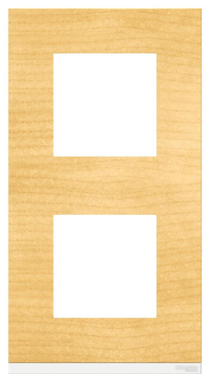 Рамка 2-ая (двойная) вертикальная, Дерево Клен/Белый, серия Unica Pure, Schneider Electric