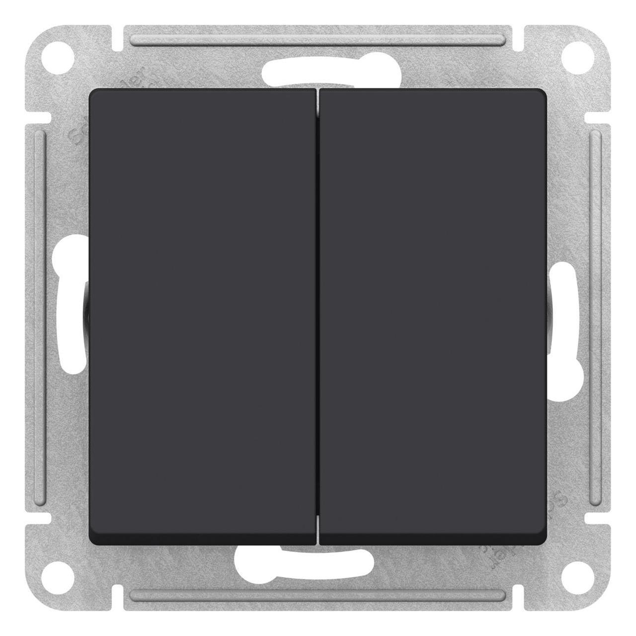 Выключатель 2-клавишный проходной (с двух мест) , Карбон, серия Atlas Design, Schneider Electric