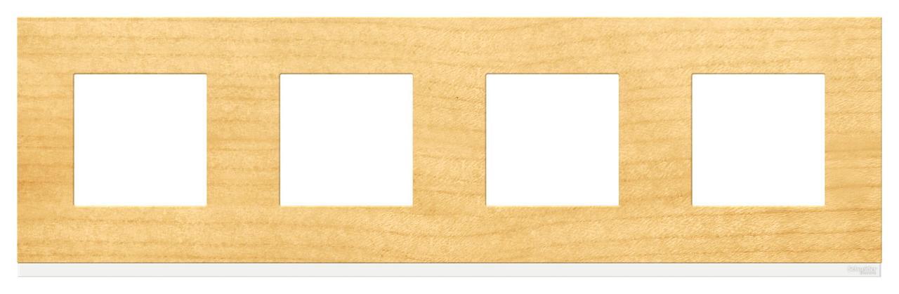 Рамка 4-ая (четверная), Дерево Клен/Белый, серия Unica Pure, Schneider Electric