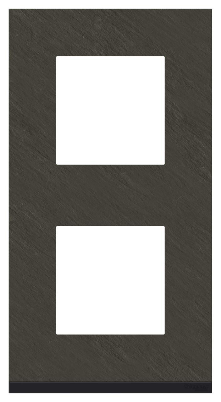 Рамка 2-ая (двойная) вертикальная, Камень/Антрацит, серия Unica Pure, Schneider Electric