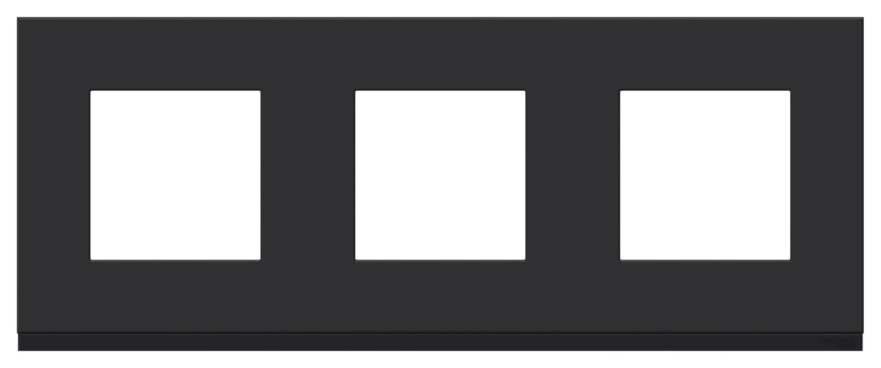 Рамка 3-ая (тройная), Каучук/Антрацит, серия Unica Pure, Schneider Electric