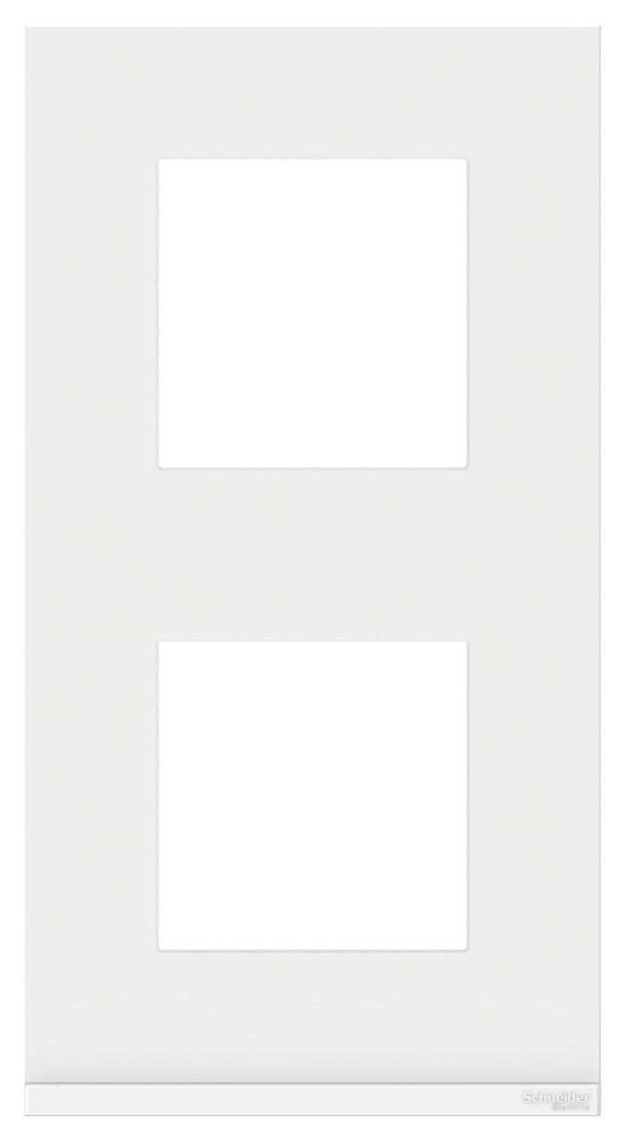 Рамка 2-ая (двойная) вертикальная, Стекло Белое, серия Unica Pure, Schneider Electric