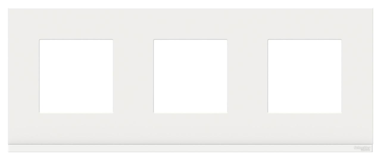 Рамка 3-ая (тройная), Стекло Белое, серия Unica Pure, Schneider Electric