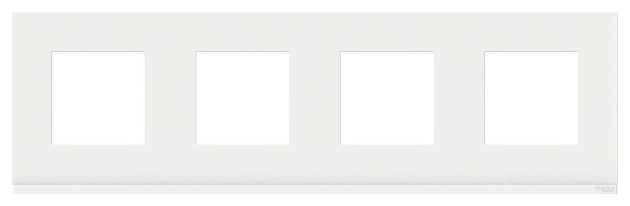 Рамка 4-ая (четверная), Стекло Белое, серия Unica Pure, Schneider Electric