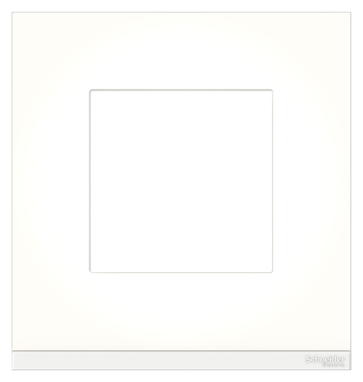 Рамка 1-ая (одинарная), Стекло Матовое/Белый, серия Unica Pure, Schneider Electric